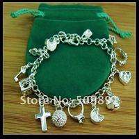 Free shipping Hot sale silver Fashion moon heart cross ball pendant  charm bracelet  YPB51