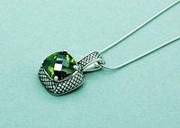 Free shipping Wholesale Dark Emerald Gemstone Untique Silver Brass Necklace 16+3 Chain Necklace