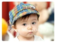 10pcs/lot-Plaid Girl's Hat/Boy's Cap/Infant&Toddler's hat/Kids Hat embroidery Baby  Beanie