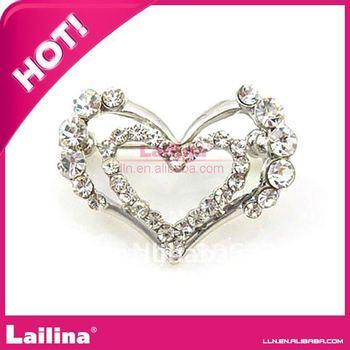 double heart shape rhinestone brooch