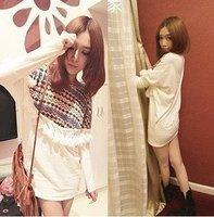 Wholesale fashion Tshirt Check fringed Bohemian Long TShirt #1078