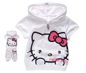 New arrival 5 sets/lot  fashion cute hello kitty children clothing ,short sleeve T-shirt +pants children/kids suit, kids clothes