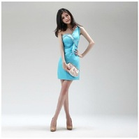 Yiwu-TOPSHOP 2012 OEM Sky Blue Retro Women One Shoulder Slim Formal Evening Dress Model Perform Dress DHL EMS Free shipping