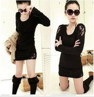 Wholesale fashion coat 2012  fall and winter  stitching lace T shirt #1104 Tshirt
