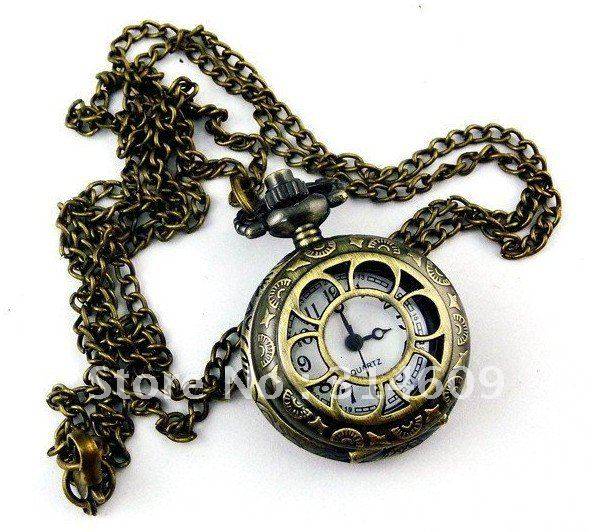 Free Shipping New Antique bronze Necklace Vintage Bike Quartz Pocket Watch With Chain
