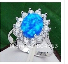 RARE BLUE FIRE OPAL SILVER ring SIZE 7-9(China (Mainland))