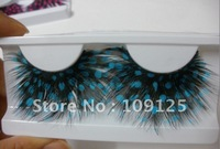 1 Pair Party Feather Fake/False Eye Lash Eyelashes Blue and black cool new Sky blue dot feathers exaggerated style eyelash