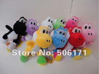 "Free shipping 1 PCS High Quality Soft Plush Super Mario Bros Yoshi Plush Anime 7"" Cos Figure Runing  Yoshi OPP Retail"