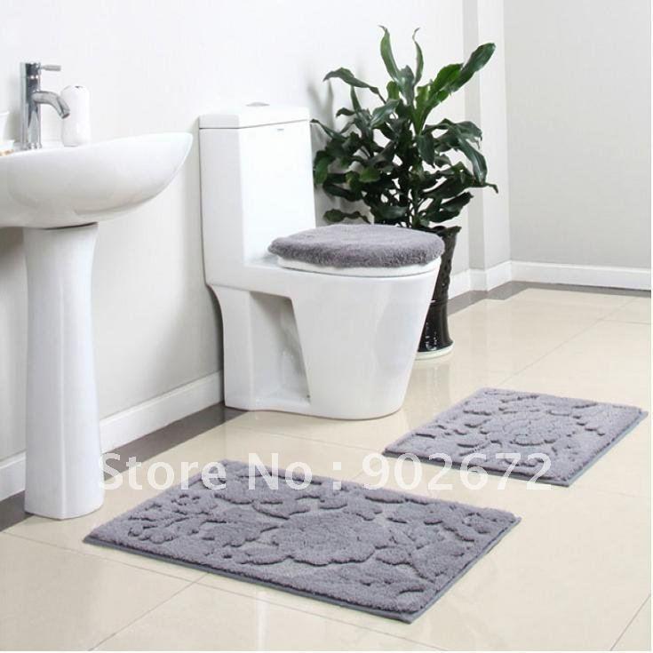 100 Acrylic Bathroom Rug Toilet Lid Set Bath Mats 4 Piece Bath Rug Set Non
