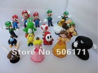 Free shipping 1set High Quality PVC Super Mario Bros Luigi Action Figures 18pcs f/ Xmas OPP retail package