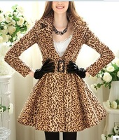Fashionable Leopard cashmere long coat, free shipping Women's cotton winter WARM leopard slim long coat F4556