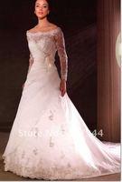 beatifull organza  long sleeves lace wedding dress/bridal dress