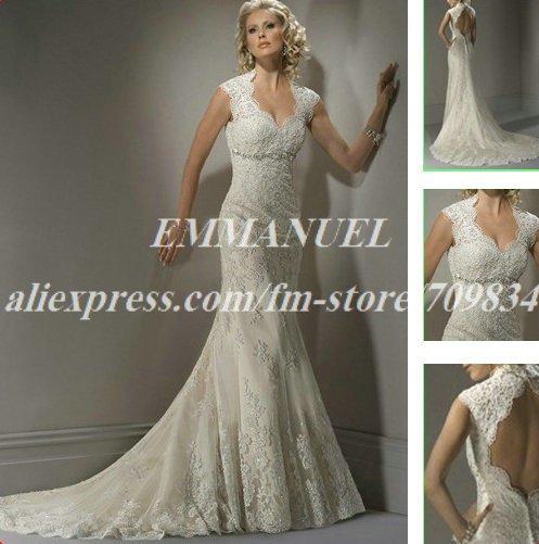 Beaded Cap Sleeve Backless 2012 Lace Mermaid Wedding Dress NG606