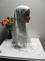 as122202 2011 2-pcs set cotton big size printed muslim headscarf in assorted color for free shipping on promotion