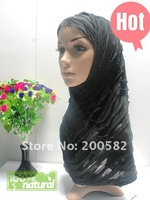 as122205 2011 newest 2-pcs set  crepe islamic headscarf with falbala applique in assorted colors for free shipping on promotion