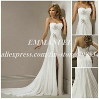 A-line Sweetheart Chiffon Beach Wedding Dress with Front Slit NG646 Hot Sell