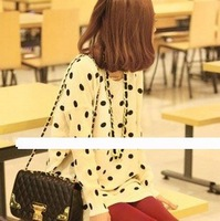 Wholesale fashion coats Korea 2012  new arrival  round collar rabbit hair  dot shirt fashion  Tshirt