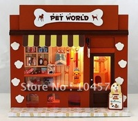 Free shipping DIY House Model,Miniatures  European Shop Series,assembled wooden model toy,Pet World