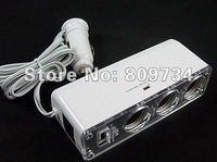 Free Shipping 2011/1 to 3 way Car Cigar Lighter Power Adapter/Splitter Socket 5V USB black /white car charger