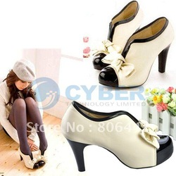 New Arrival Fashion Sexy Women PU Bow Pump High Heel Shoes Platforms Ankle Boots Beige Free Shipping(China (Mainland))