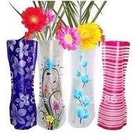10pcs/lot hotsale Novelty mixed style Foldable Flower Vase Plastic Vase PVC Vase Free shipping