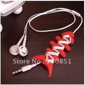 Free shipping! Large fish bones for MP3 cell phone wire wound hub line reel winding bar tie clip(China (Mainland))