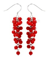 Free shipping 925 pure silver earrings with red coral.