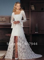 beatifull satin and lace long sleeves lace  front short  back long wedding dress/bridal dress with straight neckline