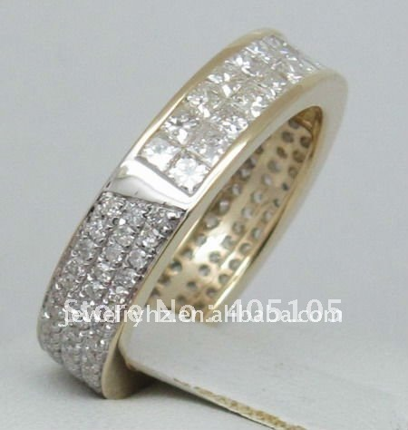 SOLID 14kt Yellow GOLD 1.58ct Princess & Round cut Diamond Wedding Band Ring(China (Mainland))