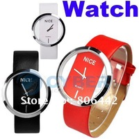 New Fashion Ladies' Watch Simple Transparent Dial Quartz Wrist watch with PU Leather Strap 3 Colors Free Shipping