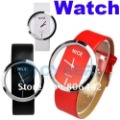 New Fashion Ladies&#39; Watch Simple Transparent Dial Quartz Wrist watch with PU Leather Strap 3 Colors Free Shipping