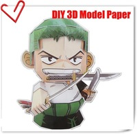 Anime ONE PIECE DIY 3D model Roronoa Zoro model Figuer 11CM  Cosplay