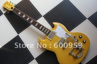 Special bridge Vintage Yellow SG Model 6 string electric Guitar #908