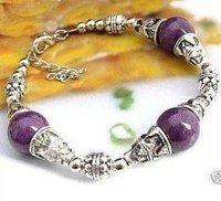 Stunning Jewellery Tibet purple JADE Bead Bracelet