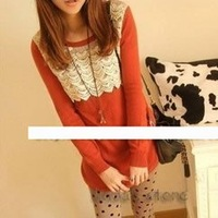 Wholesale cheap 2012   new arrival   fashion crocheted lace shirt shirt TShirt A0215coat sweater