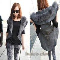 2012 fashion jacket thick fur collar vest woolen coat wholesale A03279