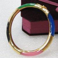 Brand New Hot rare Collectible beautiful Jewelry colorful jade 14K bracelet Bangle + box free shipping