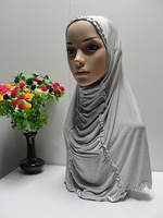 LRD90703 Free shipping muslim hijabs with diamond and ruffles,Islamic hijab with diamond embroidery,fashion hijabs