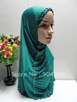 LRD90703 Free shipping muslim head scarf with diamond and ruffles,Islamic hijab with diamond embroidery,fashion hijabs