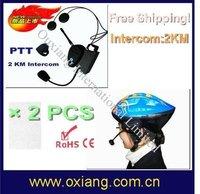 2012 Hot sale! 2 pcs bicycle helmet interphone headset ,motor bike Intercom 2000m +Free Shipping