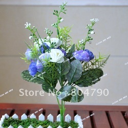 5 bunch /lot factory price high quality artificial silk cream blue white rose wedding flower supplier or home decora flower(China (Mainland))