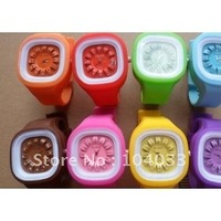 Lovely Unisex square jelly watches Silicone watch flower watches 200pcs free shipping via DHL EMS