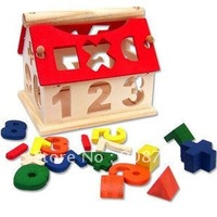 Childhood educational toys/small digital house/wisdom house/wooden house for game/wooden blocks/Free shipping
