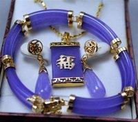 wholesale --------Noblest Genuine Purple Jade Pendant Earring Bracelet