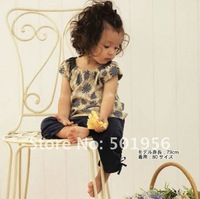 Free shipping 6sets/lot fashion girl clothing sets ,Brand girls t-shirts +trousers sets,Spring girls wear