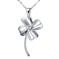 Do Promotion New Style 2013 White Gold Plated Jewelry,Platinum Plated Necklace Clover Necklace Inlay Zircon.