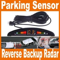 4 Sensors System 12v LED Display Indicator Parking Car Reverse Radar Kit black/white/silver chioce free shipping