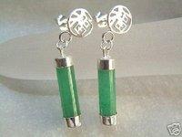 wholesale -------- On Sale !!! Sterling Silver Green Jade Dangle Earrings 021