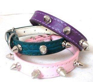 dog collar with 5pcs strong spikes 3 sizes (gold,pink,purple), pu dog collars, pet collars,pet supplies