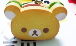 Cute Hamburger Bear Squishy Charm/Cartoon mobile phone strap/Handbag MP3/MP4 Pendant/keychain/Gifts(China (Mainland))